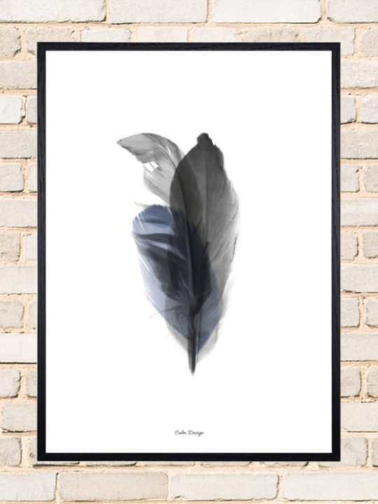 Calm Design Plakat - Feather Bouquet - sort/blå - A3