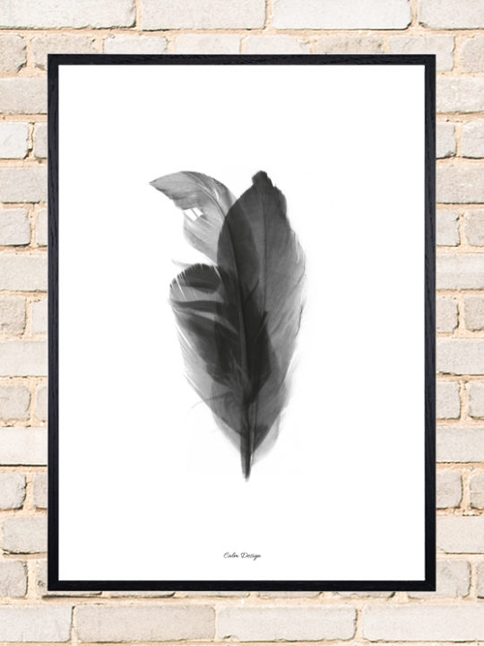 Calm Design Plakat - Feather Bouquet - sort/hvid - A3