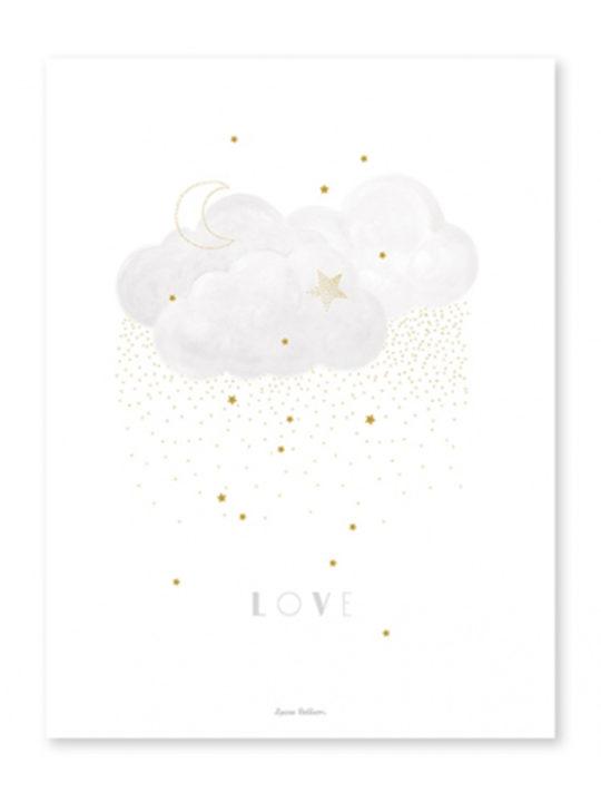 "Lilipinso - Plakat - ""Clouds Love"" - Grå - 30x40 cm."