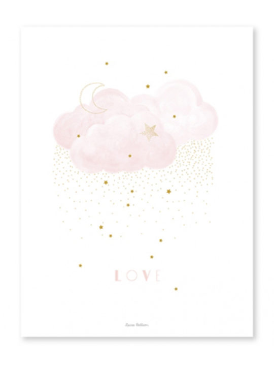 "Lilipinso - Plakat - ""Clouds Love# - Rosa - 30x40 cm."