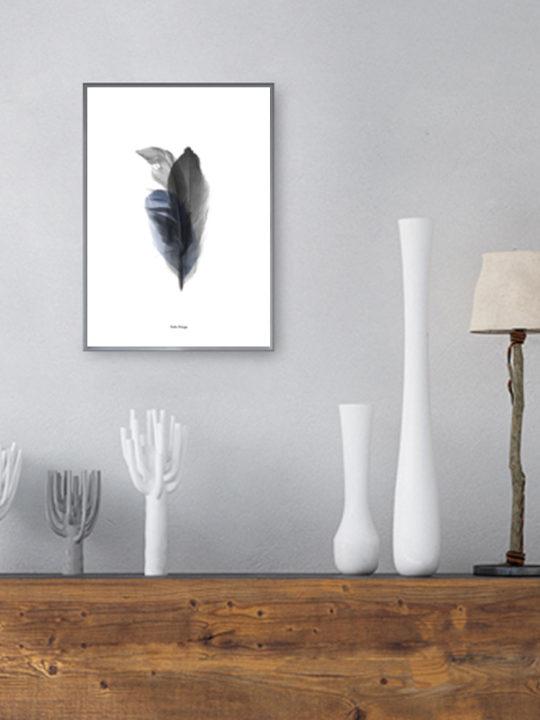 Calm Design - Plakat - Feather Bouquet - sort/blå - A4