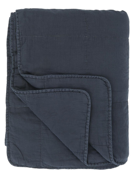 Ib Laursen - Quiltet Plaid - Midnatsblå - 130 x 180 cm
