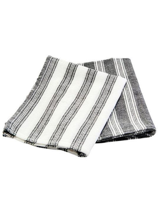 Meraki - Hammam - Viskestykke/Gæstehåndklæde - Hvid/sort - 2 stk.
