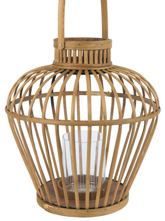 Ib Laursen - Lanterne med bambusflet og glasindsats - H: 37 Ø: 35