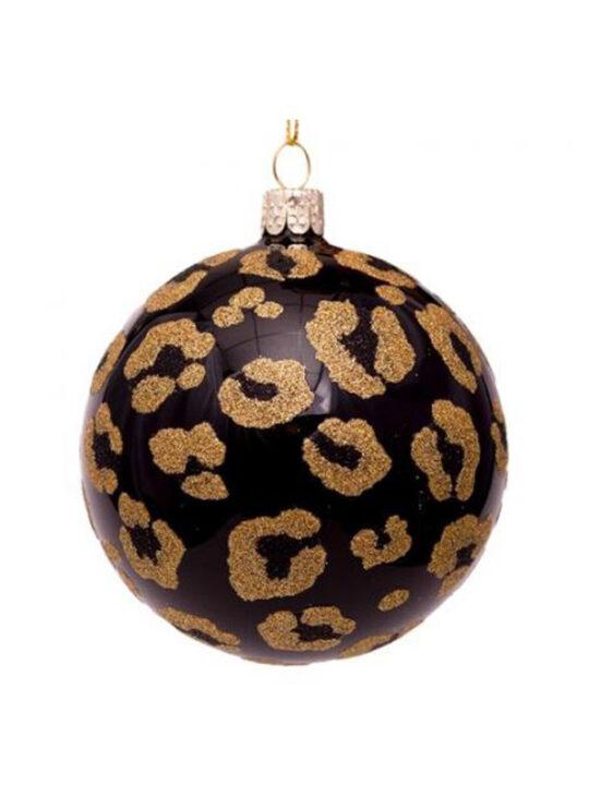 Vondels - Juletræspynt - Julekugle - sort med leopard-mønster - Mundblæst glas