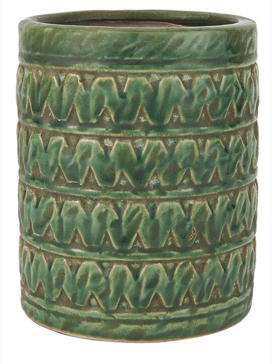 Ib Laursen - Urtepotteskjuler - Terracotta - Grøn - H: 17 cm
