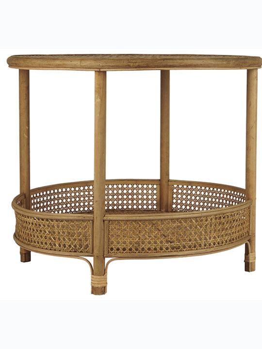 Ib Laursen - Sofabord med hylde - Rattan - Ø 59 cm
