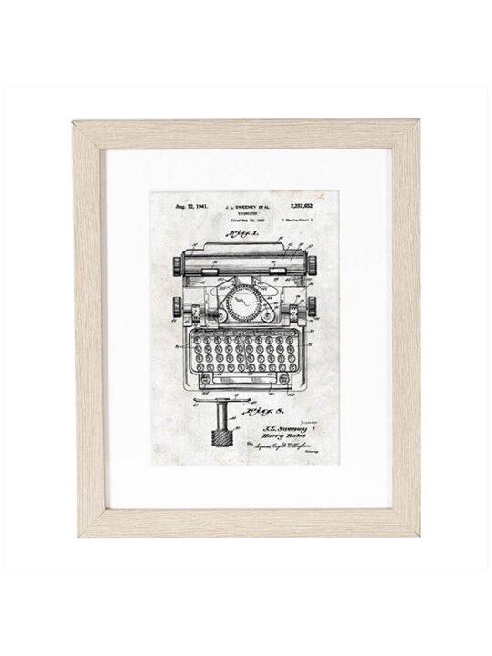 Incado - Patent - Skrivemaskine - 20 x 25 cm inkl. ramme