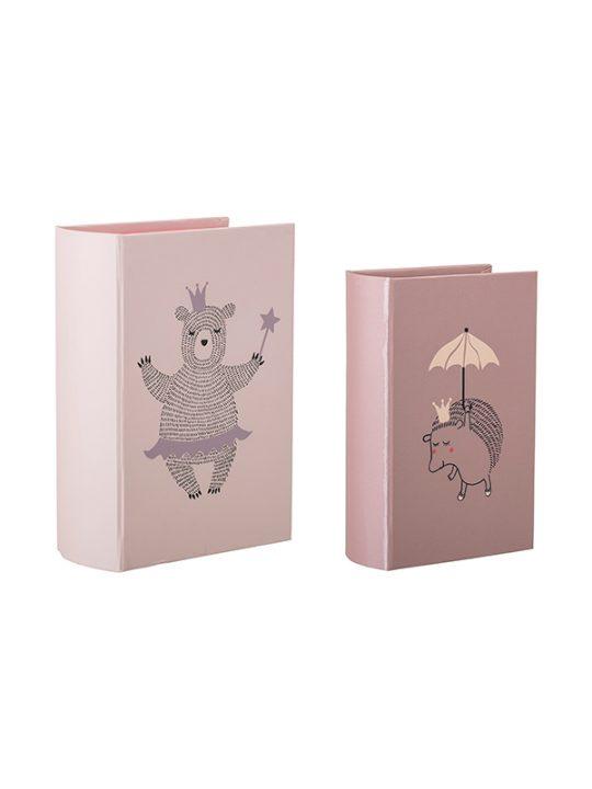 Bloomingville Mini - Opbevaringsbøger - Rosa - Sæt á 2 stk.